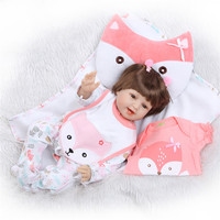 22 Silicone Vinyl Reborn Dolls Lifelike Newborn Babies smiling fox girl 55 cm Reborn fashion cute Toys Kids Birthday Gifts