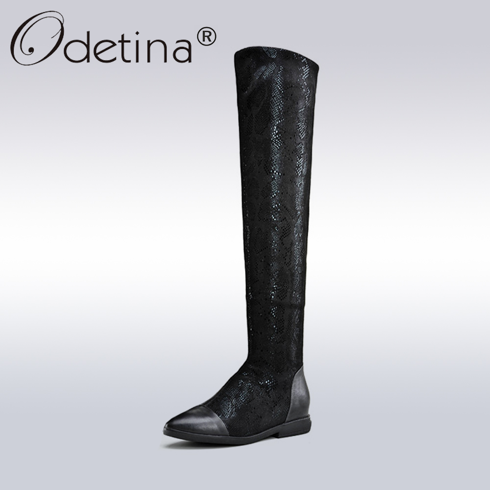 Odetina Genuine Leather Black Over-the-Knee Boots Women Sexy Bling Pointed Toe Long Boots Lady Autumn High Quality Riding Boots цены онлайн