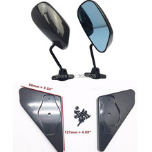 цена на F1 Style professional racing mirror Carbon Fiber look Side Mirror Blue Mirror With Universal Fitment Left Right 2 Pieces
