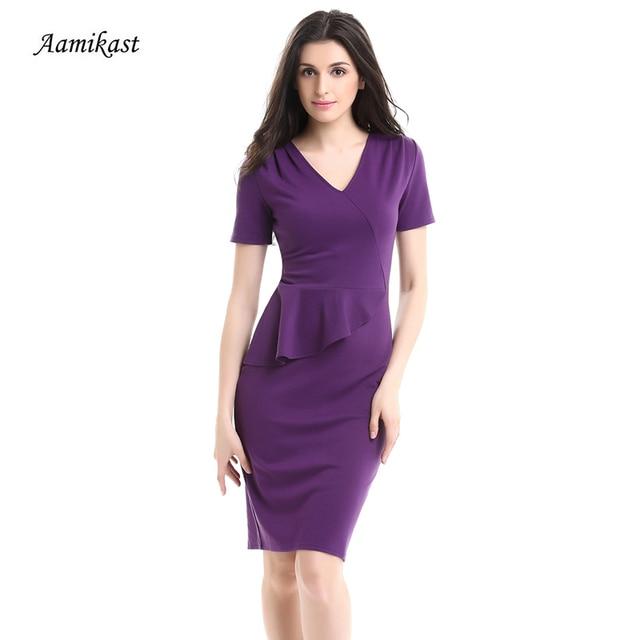 Aamikast Women Summer Solid Color V-Neck Ruffle Dress Elegant Short Sleeve Dresses  Plus Size Pencil Party Work Office Vestidos 8f5f3ece4bf4