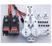 Free ship 2 DOF Robot Arm Clamp Claw Mount kit + 2 DS3109 Metal gear Digital servo 9kg +2 circle metal holder 25T for Arduino