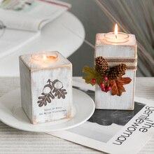 Vintage Candlesticks Christmas Wood Candle Holder Candlestick Table Lamp For Tea Light Wedding Home Decoration
