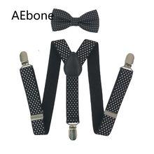 AEbone/Модная эластичная подвеска; Детский комплект с бантиком и галстуком-бабочкой; подтяжки в черный горошек для мальчиков; темно-синий ремешок; Bretels; Sus07