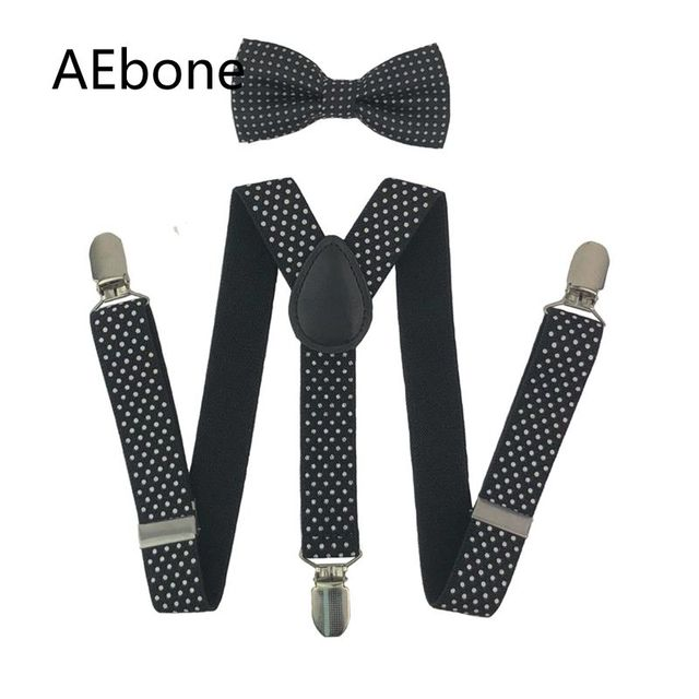 7a26ffe3c90 AEbone Fashion Elastic Suspender Kids Brace And Bow Tie Set Black Dot  Suspenders For Boy Navy Strap Bretels Sus07