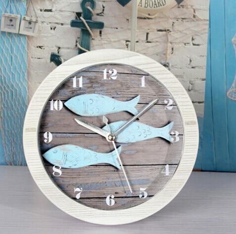 051430 European Mediterranean restoring ancient ways do old wood small alarm clock The Nordic sit bell desk clock