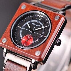 BOBO BIRD luksusowa marka drewniany zegarek męski kwadratowy zegarek japoński Seiko ruch Relogio Masculino świąteczny prezent dla taty J-R14