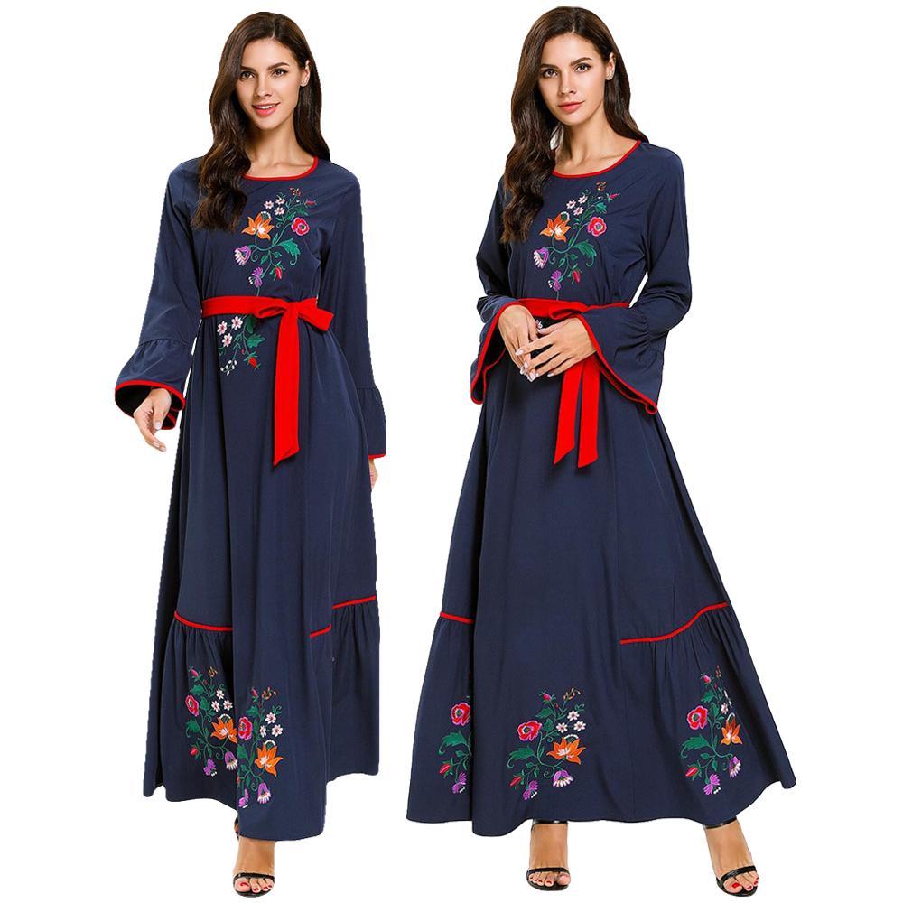 Dubai Muslim Dress Women Embroidery Maxi Dress Abaya Kaftan Long Robe For Women Cocktail Jilbab Flare