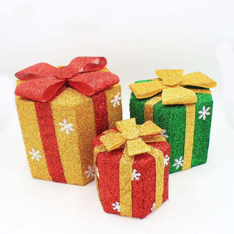 1 Pc Buatan Tangan Dekorasi Natal Pvc Box Dengan Ikatan