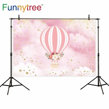 Funnytree backgrounds for photography studio pink sky hot air balloon baby shower golden stars backdrop photocall photobooth image