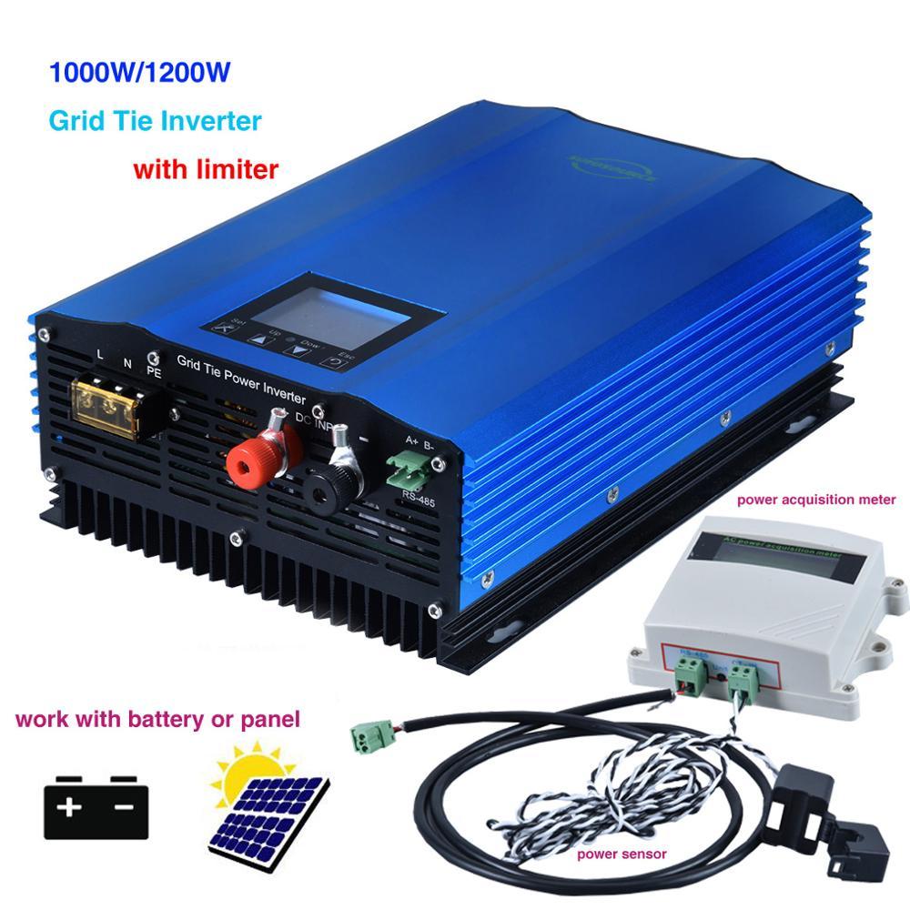 1200W Grid Tie Inverter with Limiter Sensor Battery Discharge Power Mode/MPPT Solar DC 48v 72v 96v AC 220V 230V PV connected
