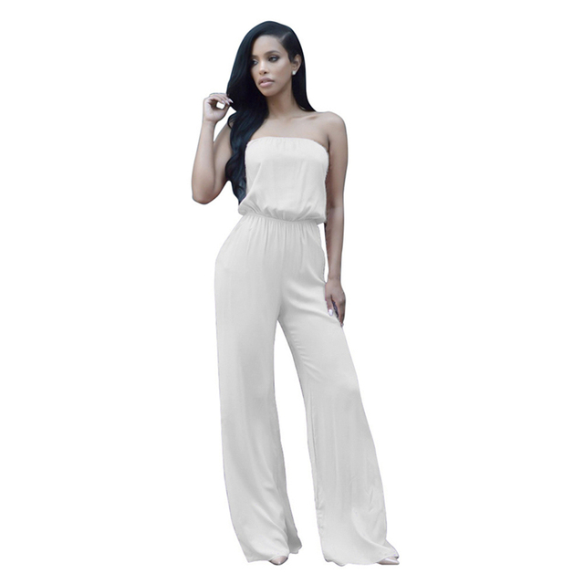 Women Ladies Sexy Jumpsuits Strapless Bell Bottoms Romper Clubwear Trousers Solid Casual with Bow Jumpsuits & Rompers For Ladies