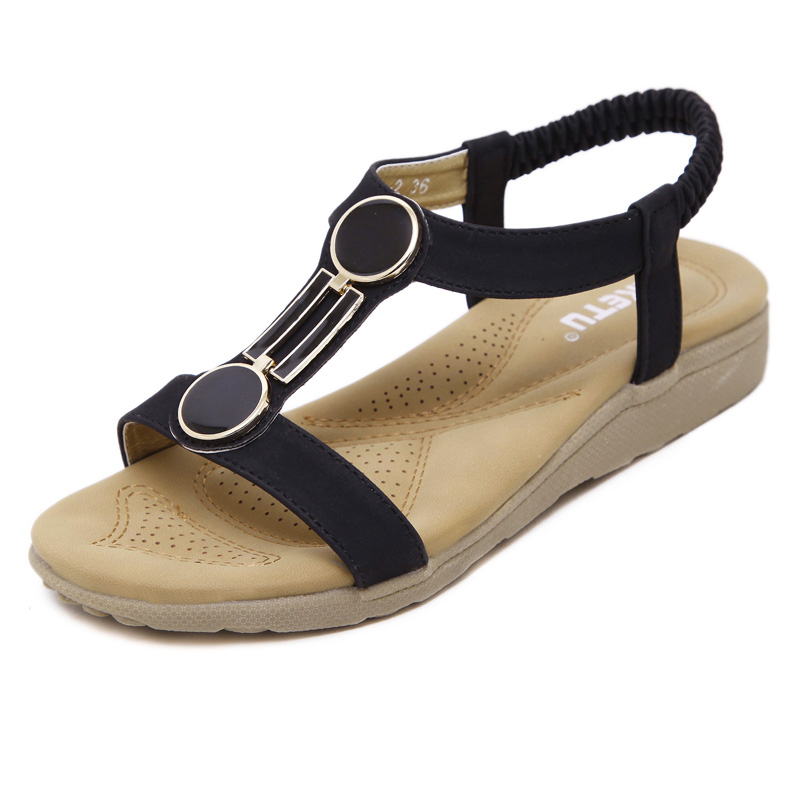 2016  free shipping New Women Shoes Summer Women Sandals Buckle flat heel Women Casual Shoes Women Plus Size 35-40 Wholesale free shipping no 40 3 red color fo shoes and bag set new summer women s shoes low heel shoes crystal high heel shoes