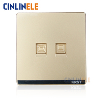 1Pcs Luxury Wall Switch Network Cable Socket Ivory Gold Brief Art Weave Telephone Line Socket No