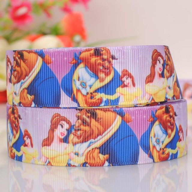 "5yards 7/8 "" 22 mm  Belle princess beauty and beast grosgrain ribbon DIY handmade hairbow ribbon free shipping"
