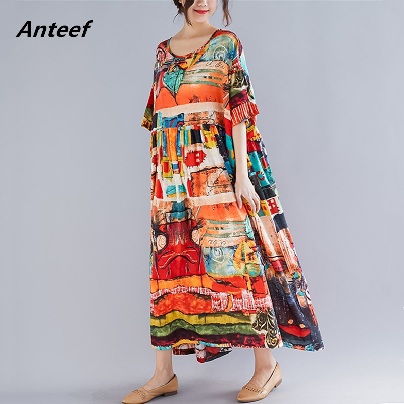 US $16.63 51% OFF yellow cotton linen vintage plus size women casual loose  long summer dress elegant vestidos clothes 2019 ladies dresses robe-in ...