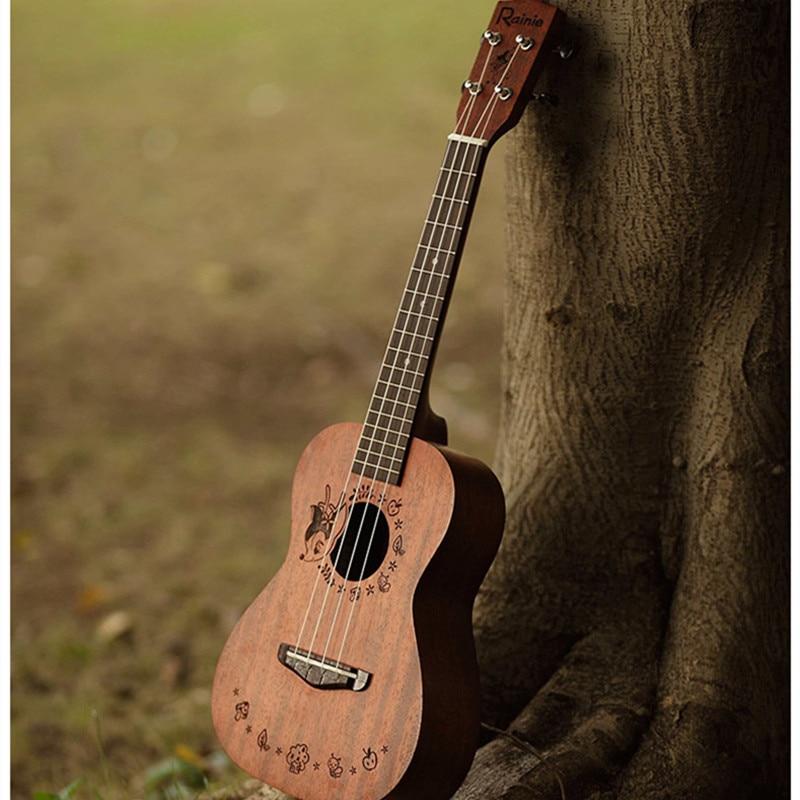Rainie Ukulele Solid Concert Tenor Ukulele 23 26 Acacia Body Hawaii Ukelele Mini Guitar with Ukulele Bag thick waterproof soprano concert tenor ukulele bag case backpack 21 23 26 inch ukelele beige mini guitar accessories browm gig