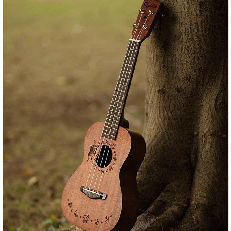 Rainie Ukulele Solid Concert Tenor Ukulele 23 26 Acacia Body Hawaii Ukelele Mini Guitar with Ukulele Bag