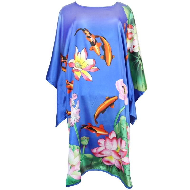 Blue Loose Plus Size Bathrobe Sleepwear Satin Robe Dress Nightdress Print Flower Novelty Nightgown Female Sexy Kaftan Bath Gown