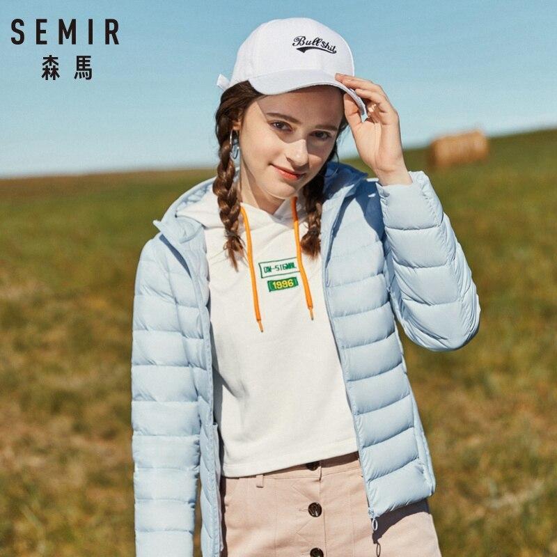 SEMIR 2019 New Basic Down Winter Jacket Women Winter Plus Velvet Hooded Coats Down Winter Jacket Woman Outwear Warm Portable