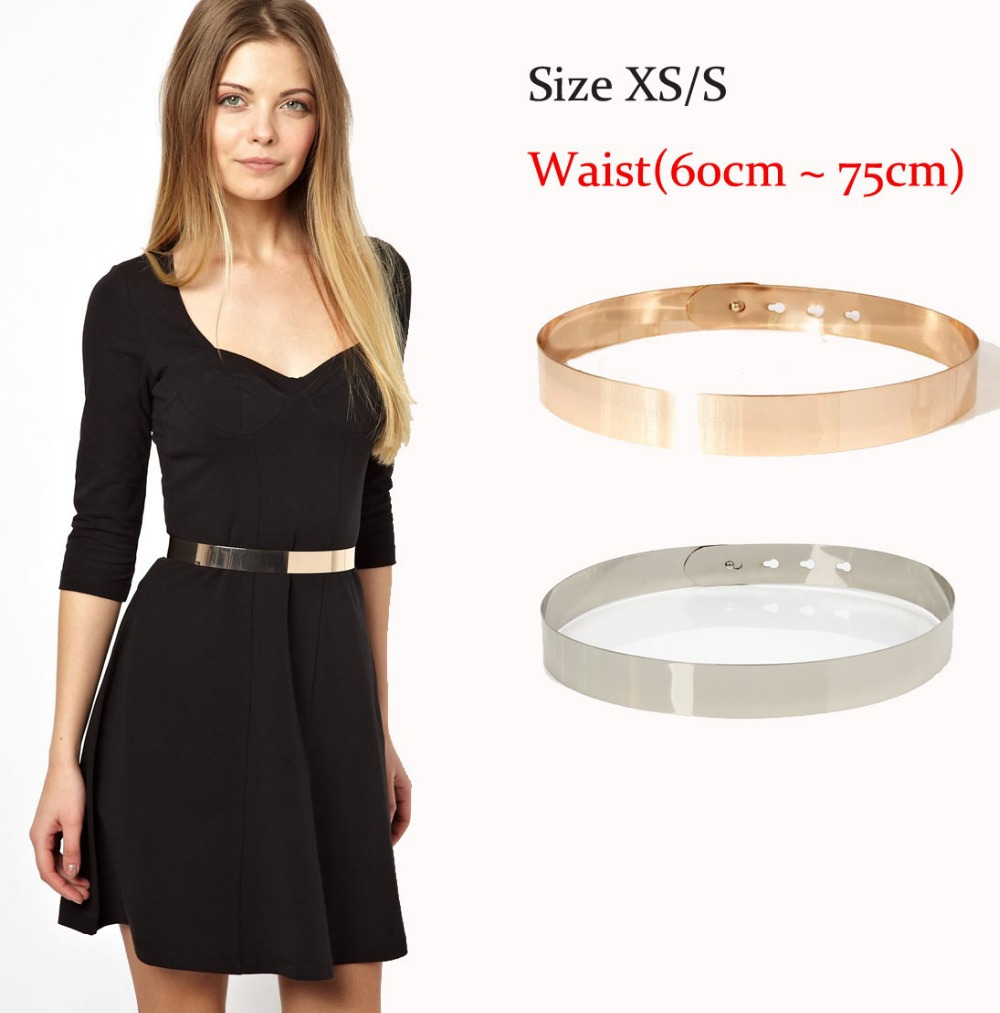 3cm Wide HOT Full Metal Plate Brand   Belts   for Women Gold & Silver Shinny for Summer Dresses Bride & Bridesmaid   Belt   size S & M
