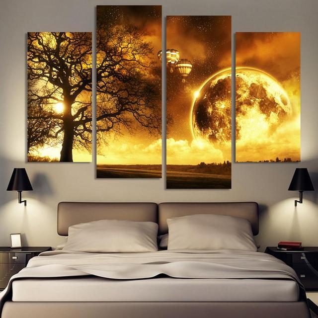 4 Painting Panel Alte Baum Gedruckt Universum Gemalde Leinwand Bild Cuadros  Erde Landschaft Malerei Fur Wohnzimmer