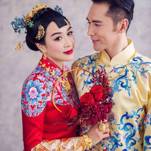 Chinese style bridegroom wedding gown robe show clothing male pratensis dragon gown tang suit costume embroidered