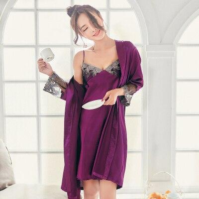 Slik Not Satin Sleepwear Women Nightgown Pijama Lady Lace Dress Sexy Lingerie Babydoll Indoor Negligee Robe Pajama Suit Summer