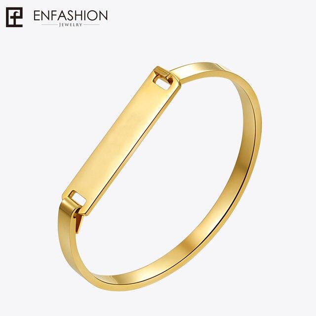 Enfashion Personalized Engraved Name Bracelet Gold Color Bar Bangle Bracelets For Women Cuff Bangles Custom