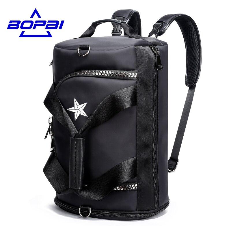 BOPAI Casual Multifunctional Men Travel Bags 4 Using Methods Male Rucksack Unisex Men Women Travel Backpack
