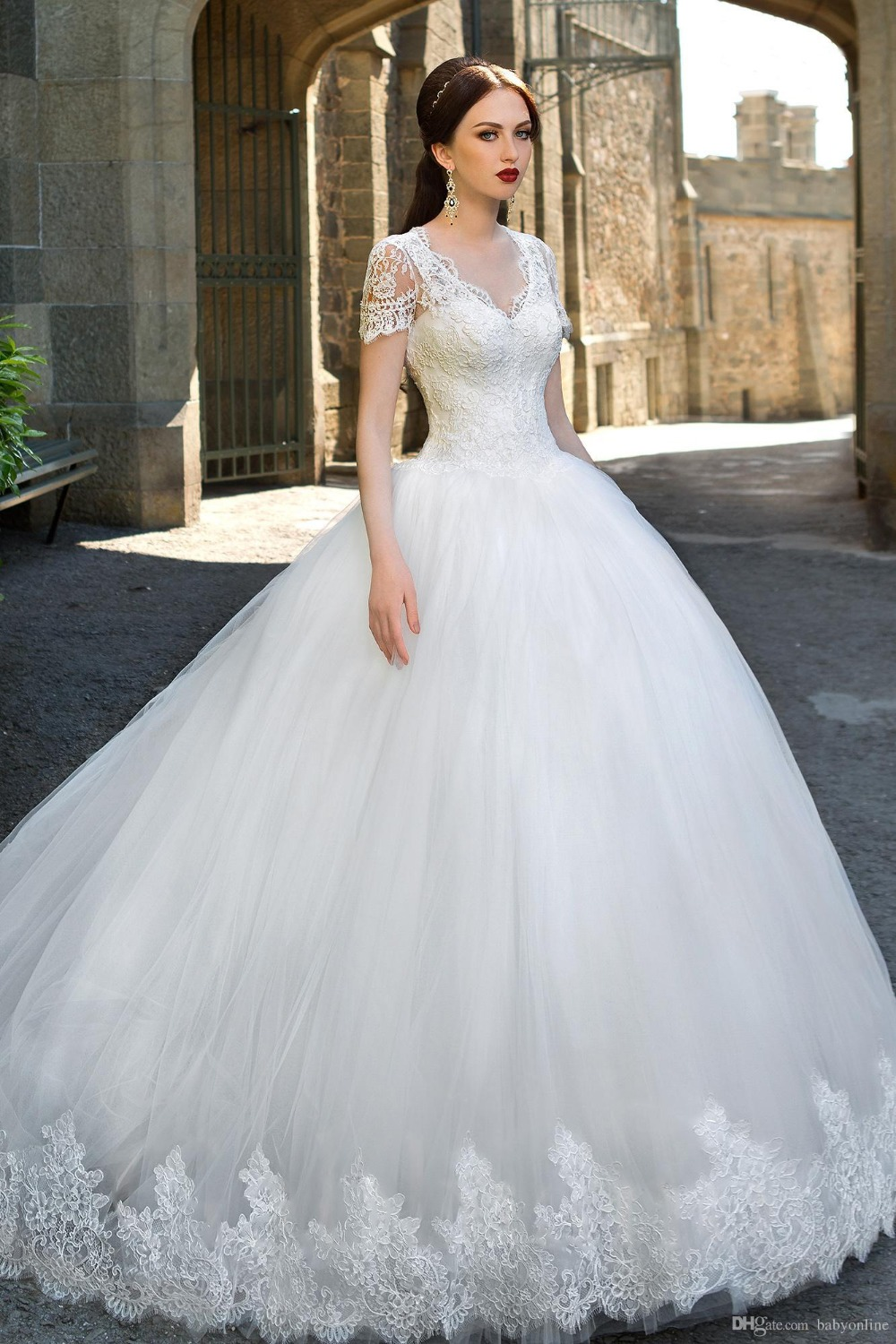 Online get cheap free wedding catalog aliexpress alibaba group catalog v neck ball gown wedding dresses lace applique short sleeve v neck wedding gowns ombrellifo Images