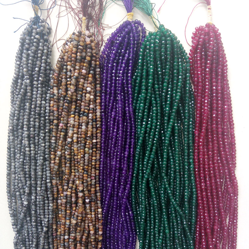 """4X3MM LIGHT RUBY ZOISITE GEMSTONE GRADE B FACETED RONDELLE LOOSE BEADS 7.5/"""""""