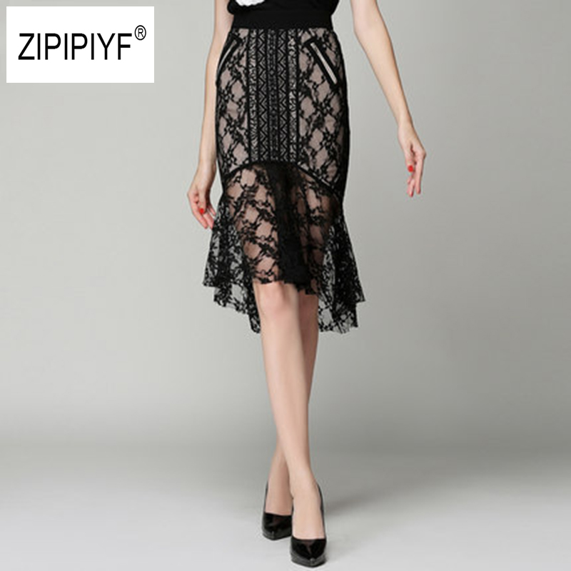 Women New Fashion Slim Lace Hollow Out High Waist Midi Skirt Asymmetry Hem Knee-Length Mermaid Skirt Package Hip Skirt B1102