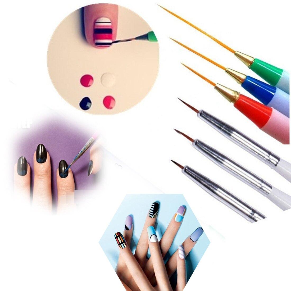 6pcs Pack Drawing Striping Liner Design Tips Nail Art Pen