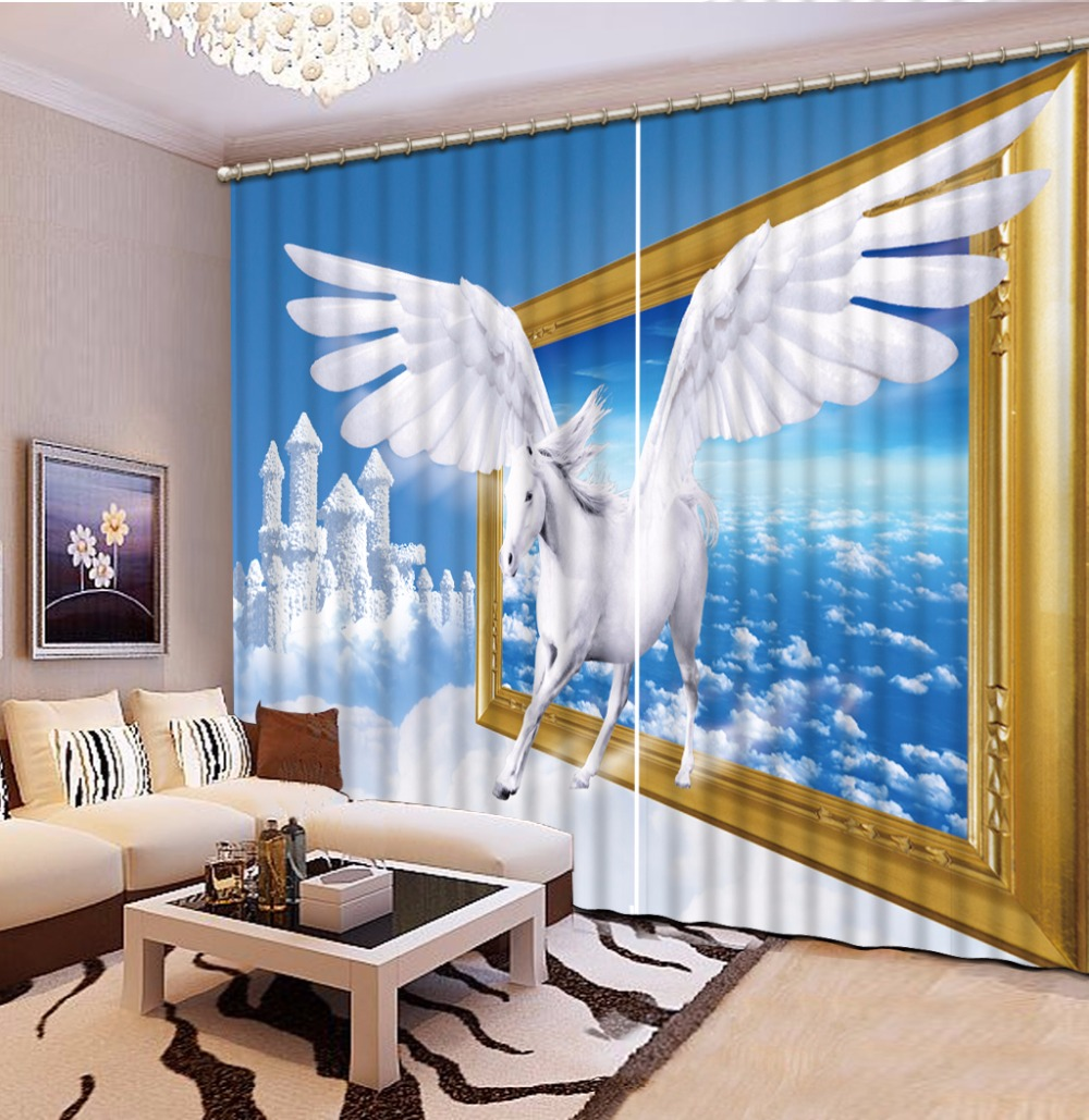 Kids Room Curtains Creative Pegasus Photo Sheer Curtains For Children Bedroom Window Drapes Luxury Fabric Kitchen Curtain