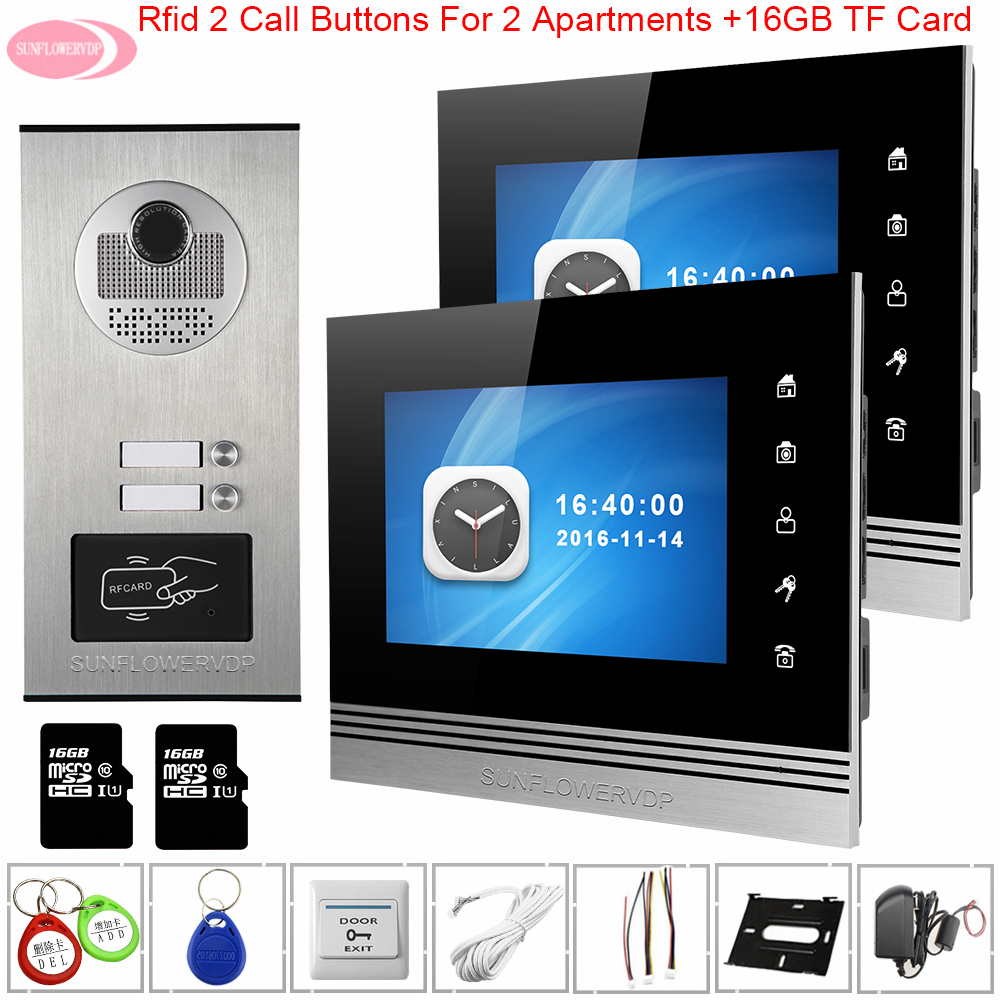 Touch Buttons TFT-lcd Color 7inch Video Intercom With Recording + 16 GB TF Card Video Intercoms For Private Homes Access Control