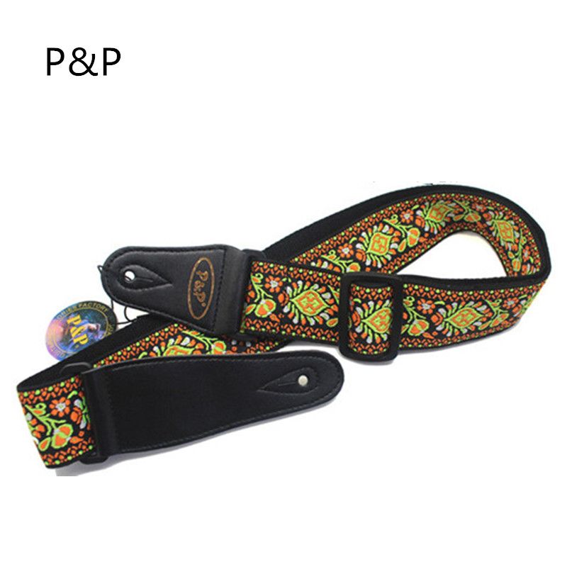 Vintage Flowers Stripes Acoustic Electric Guitar Strap Woven Embroidery Fabrics Leather Ends Strap Free Shipping цена 2017