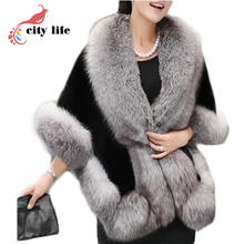 4 Colors Women Cloak Faux Mink Fur Big Poncho 2016 New Fur Collar Woolen Cape Coat Casacos Femininos