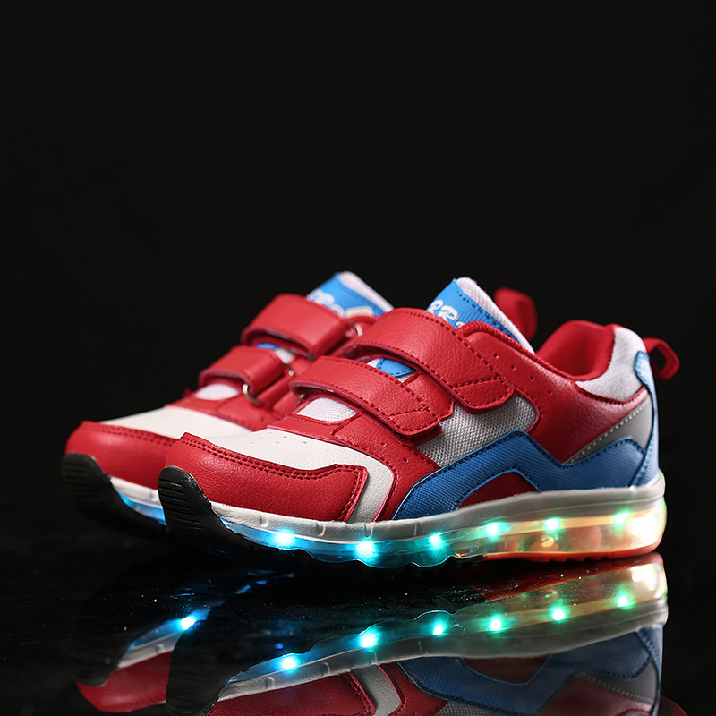 Newest Cool Unisex Mesh Led Kid Shoes Breathable USB Charger Luminous Children Sport Shoe PU And