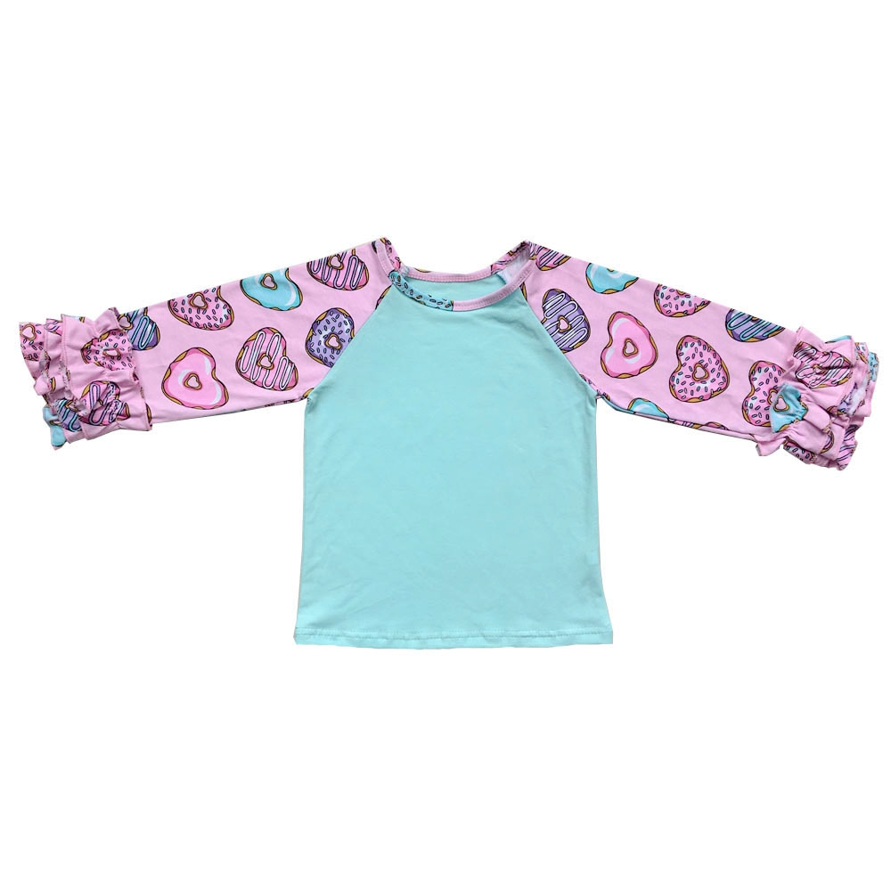 a5e862fb7 Donuts Print Heart Design Icing Ruffle Monogram Ruffle Sleeve Raglan Girl  Shirt