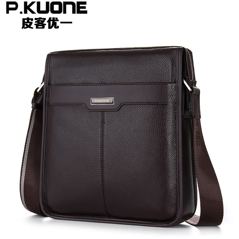 P.KUONE New 100% Genuine Leather Business Casual Men Messenger Crossbody Travel Bag Fashion Cowhide Leather Men's Shoulder Bags big pocket pad genuine business greased leather cowhide travel crossbody 14laptop shoulder messenger book shopping fashion bags