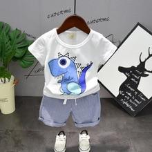Hot Baby Boys Cartoon T shirt+ Blue Stripes Short Pants Sets Summer Kids Boy Clothing Set Cotton Printed Set Children Suit 2019 стоимость