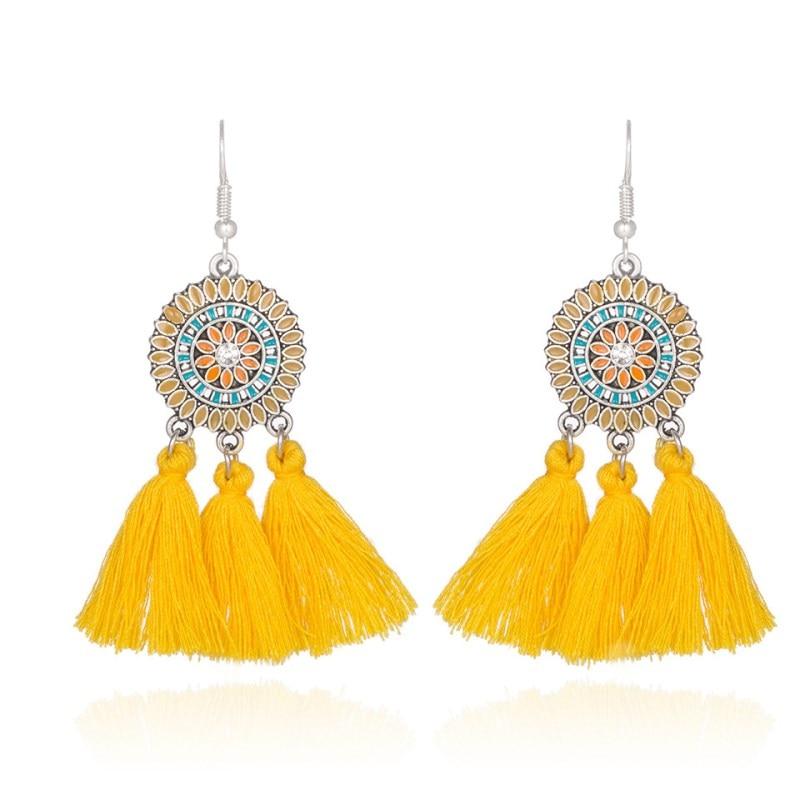 fabric long costume jewelery earrings hanging vintage bohemian earings 6 Colors round Sunflower drop earrings tassels for woman