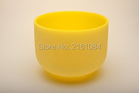ФОТО Pitch E Solar Plexus Yellow Color Frosted Crystal Singing Bowl 10'' with free suede and o-ring