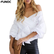 Sexy Off Shoulder Women Tops And Blouse Bow White Blouses Shirts 2018 Fashion Slim Long Sleeved Ladies Top Femme Blusas Mujer