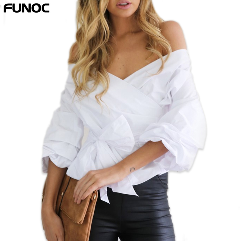 Sexy Off Shoulder Women Tops And   Blouse   Bow White   Blouses     Shirts   2019 Fashion Slim Long Sleeved Ladies Top Femme Blusas Mujer