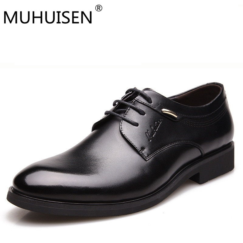 MUHUISEN Fashion Italian designer formal mens dress shoes genuine leather black luxury wedding male shoes office 38-44 eur top quality crocodile grain black oxfords mens dress shoes genuine leather business shoes mens formal wedding shoes