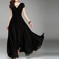 2017 Spring Summer Sexy V Neck Party Dress Women Elegant Long Maxi Dresses Black Red Gown