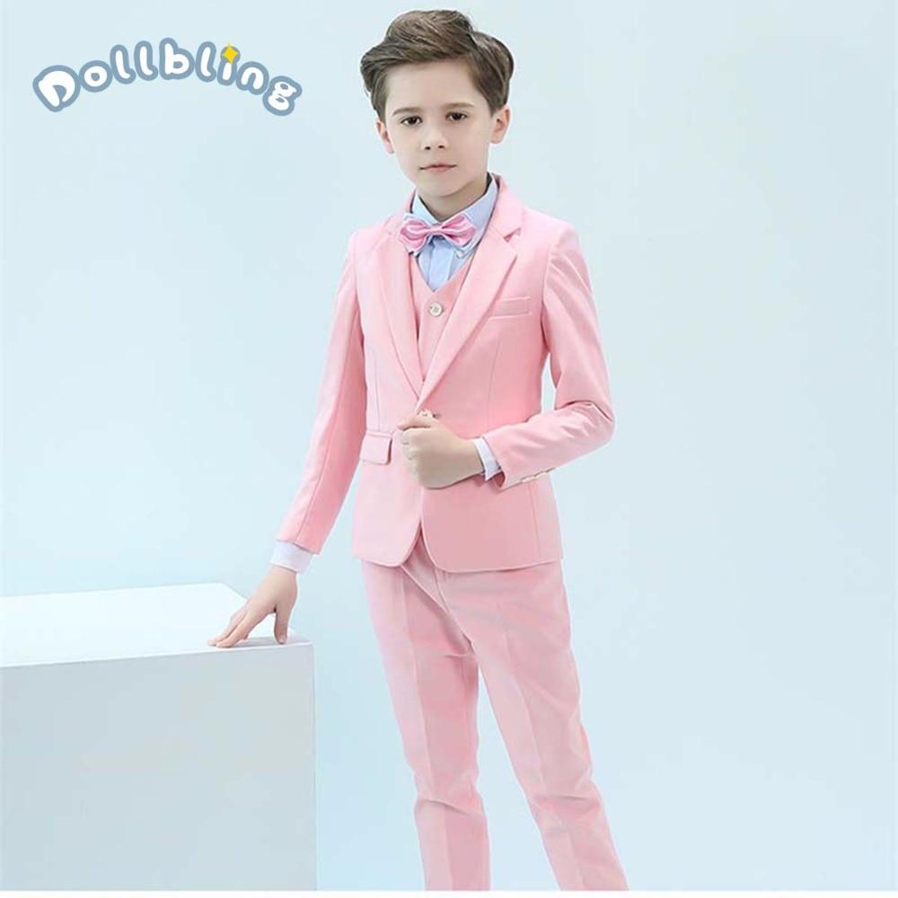 Blazer pour enfants Costumes pour garçons mariages Performance enfants Blazer costume vêtements chemise gilet cravate pantalon sangle ensemble garçon costume formel