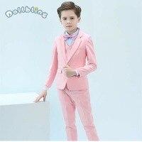 Children'S Blazer Costumes For Boys Weddings Performance Kids Blazer Suit Clothes Shirt Vest Tie Pants Strap Set Boy Formal Suit
