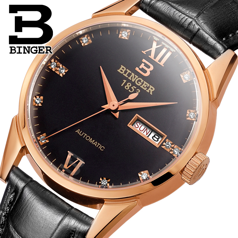 Switzerland men's watch luxury brand Wristwatches BINGER 18K gold Automatic self-wind full stainless steel waterproof  B1128-11 switzerland men s watch luxury brand wristwatches binger luminous automatic self wind full stainless steel waterproof b106 2